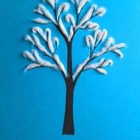 Аппликация деревья в снегу