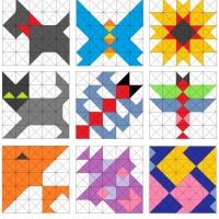 Аппликация из квадратов и треугольников