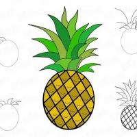 Как нарисовать ананас