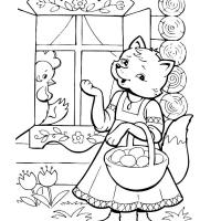 Раскраска Кот, Петух и Лиса