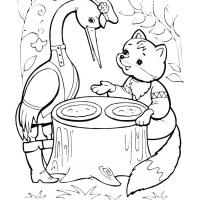 Раскраска Лиса и журавль