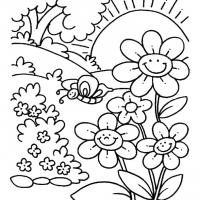 Раскраска Цветы на лугу