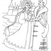 Раскраска Сказка о мертвой царевне и семи богатырях