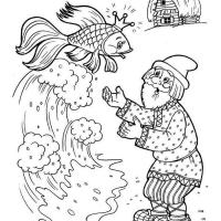 Раскраска Сказка о рыбаке и рыбке