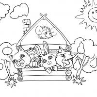 Раскраска Кошкин дом