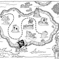 Раскраска карта сокровищ