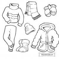 Раскраска зимняя одежда
