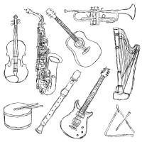 Раскраска музыкальные инструменты