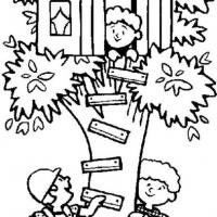 Раскраска домик на дереве