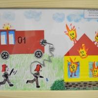 Детский рисунок пожарных