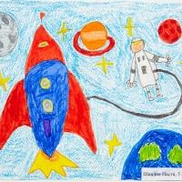 Детский рисунок космоса
