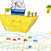 Детский рисунок корабля